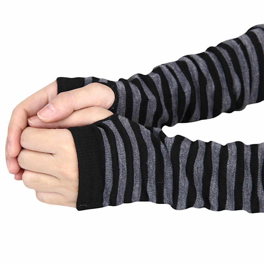 Kadın kış çizgili bilek kol el ısıtıcı örme uzun parmaksız eldiven Mitten kol ısıtıcıları