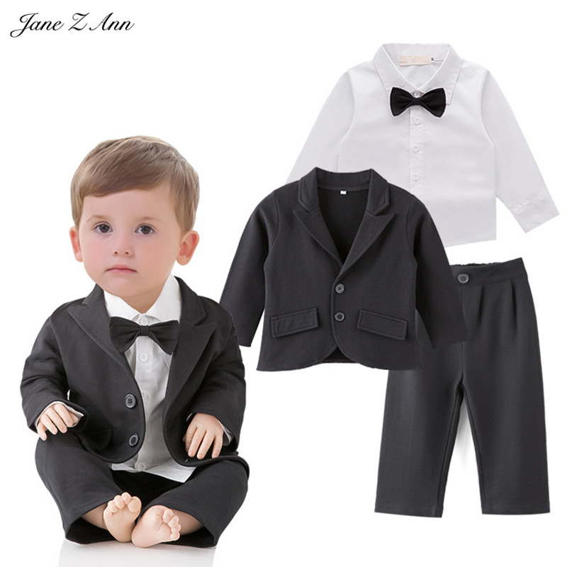 Jane Z Ann Wedding set toddler boy black jacket+pants+ shirt boys gentleman bow tie outfits infant formal suits party clothes top and top summer toddler boy clothes gentleman boy clothing set bow tie romper top straps shorts boys wedding party clothes