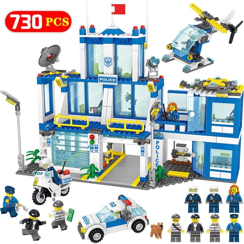 Blocks Adaptable City Police Station Model Building Blocks Kits Compatible Legoed City Policeman Helicopter 730pcs Sets Bricks Educational Toys Toys & Hobbies