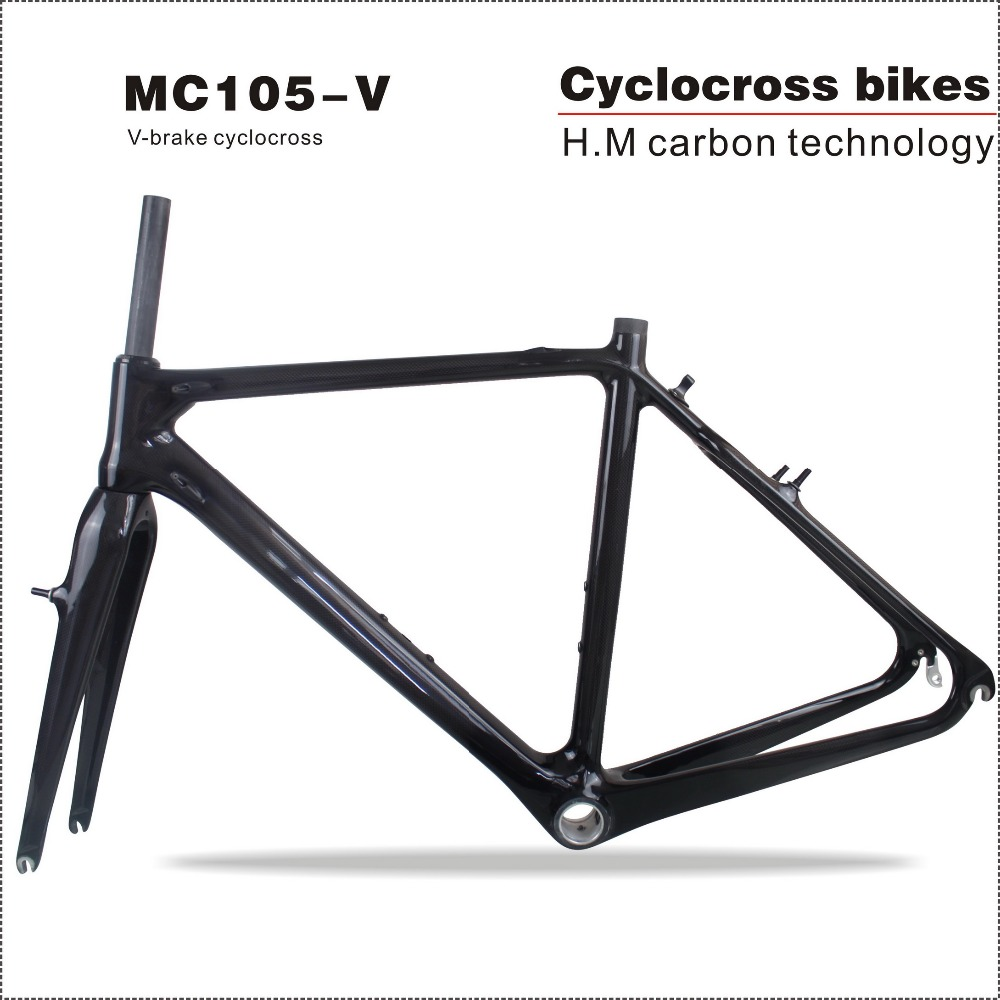 2018 Chinese cheap Carbon Cyclocross bike frame V brake 700C bicicletas Full carbon bike frame Size 50cm Bicycle parts full internal cable routing cyclocross frame disc brake full carbon cyclocross bike frame