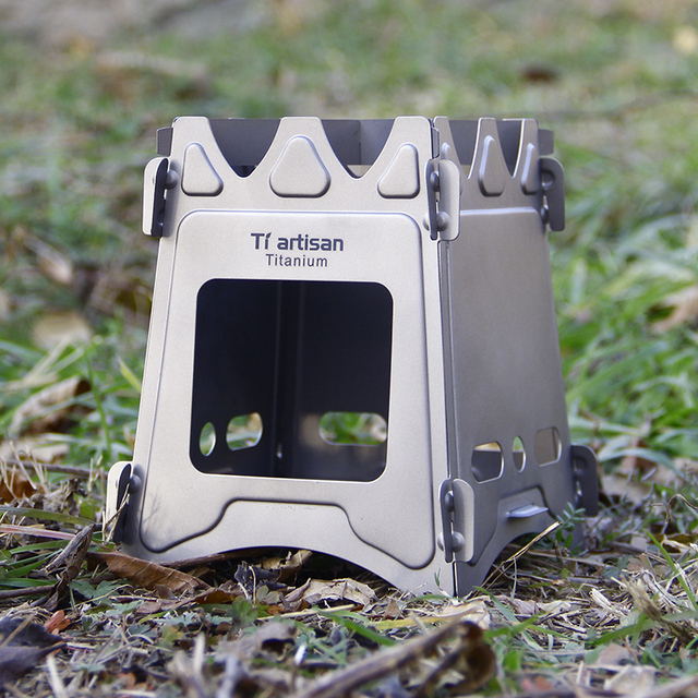 Wood Cook Stove Portable Ultralight Pure Titanium Camping Firewood Stove
