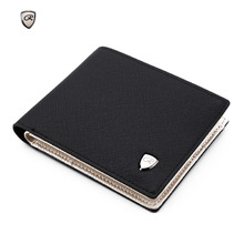 2018 New brand short and long men's wallet quality guarantee designer's card purse for male Metal logo purse with coin pocket