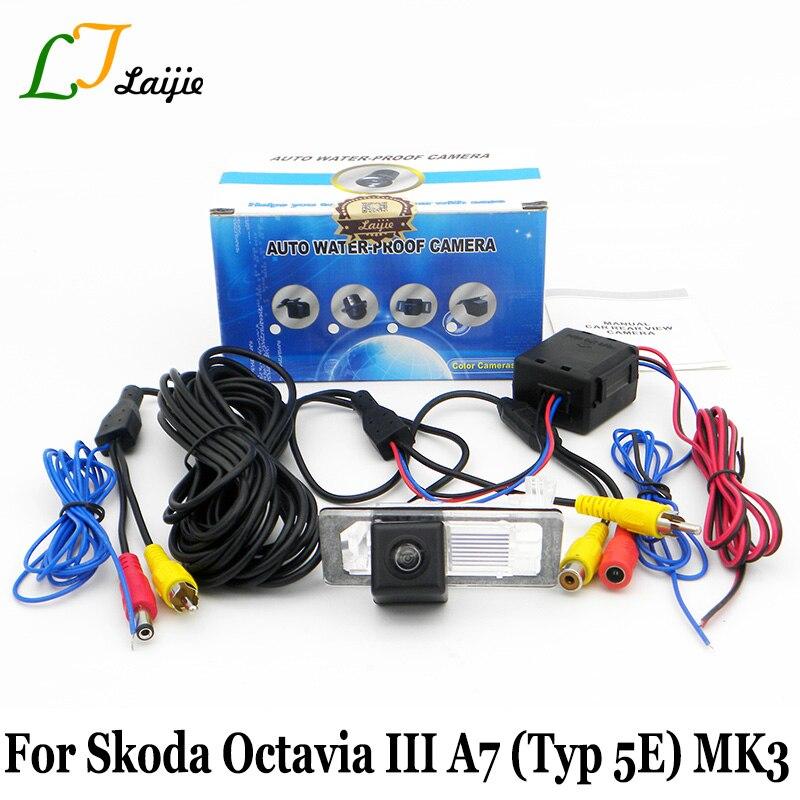 Reverse Camera For Skoda Octavia III A7 5E MK3 2013~2017 / HD Wide Lens Angle / CCD Night Vision Parking Rear View Camera