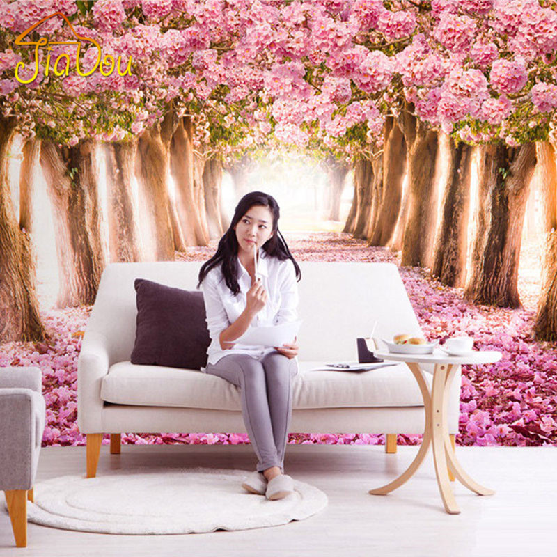 Custom Photo Wallpaper 3D Romantic Cherry Blossoms Large Mural Pink Floral Wallpaper For Girls Bedroom Walls Papel De Parede 3D large flower blossom floral 3d room modern wallpaper for walls 3d livingroom wall paper mural rolls household papel de parede