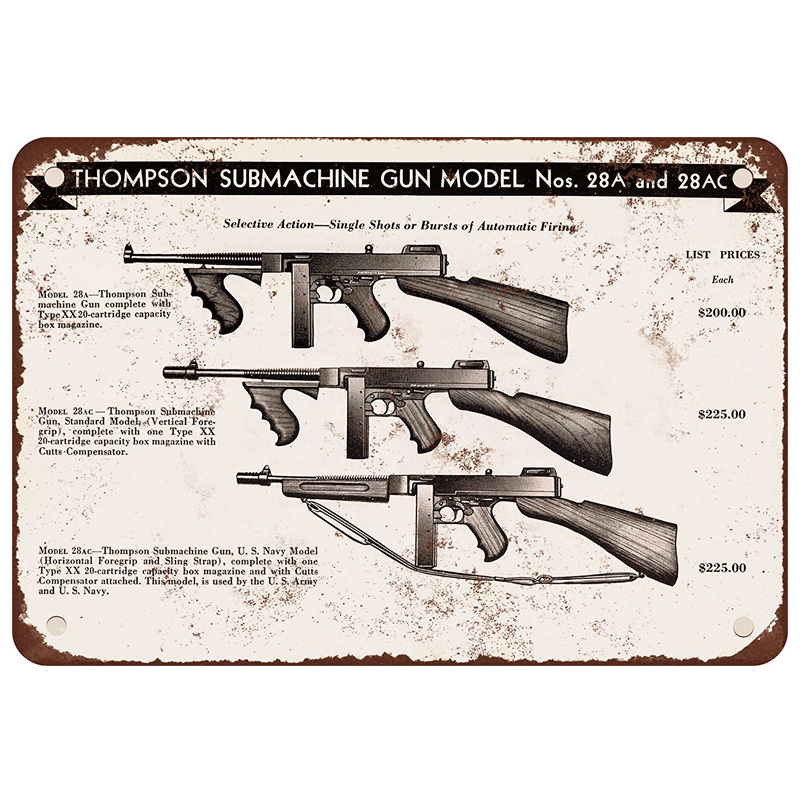 Thompson Submachine gun model Nos. 28A and 28AC. tin sign vintage metal plate iron painting wall decorationThompson Submachine gun model Nos. 28A and 28AC. tin sign vintage metal plate iron painting wall decoration