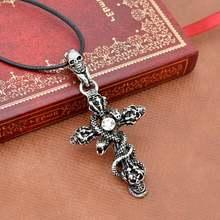 Ожерелье мужское в готическом стиле кожаная цепочка со змеиным