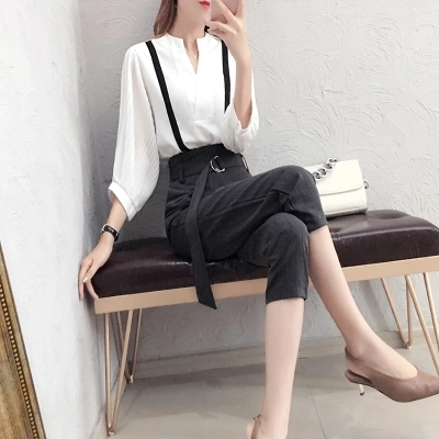 Fashion Suit women spring New high quality Temperament goddess white shirt + nine points pants two-piece Suit women 3