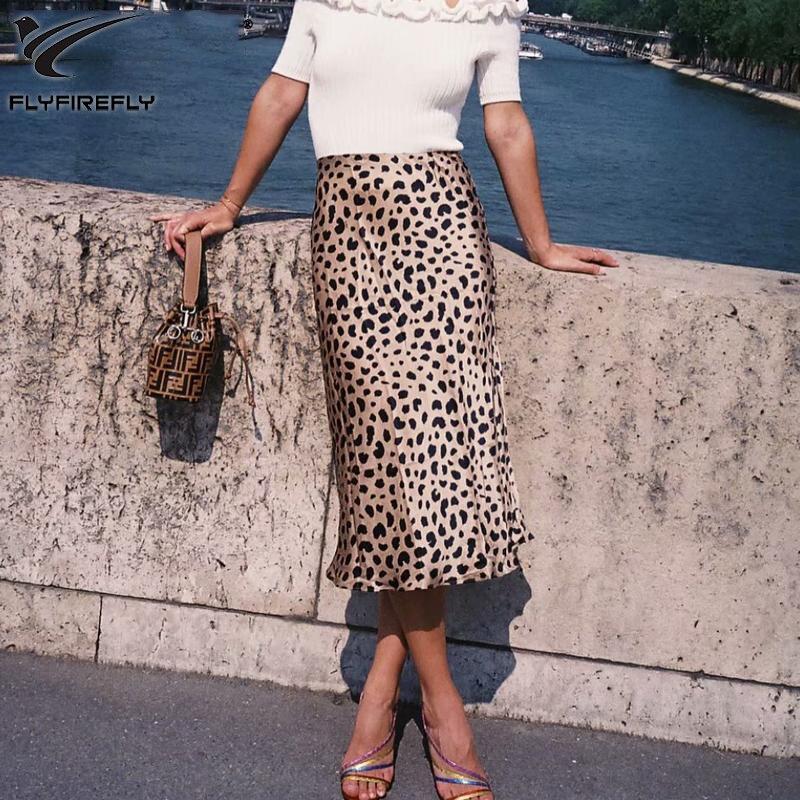 Impresión del leopardo del verano playa falda mujeres sexy alta cintura falda Streetwear moda coreana A-line Midi falda 2018 Retro Faldas Mujer