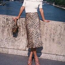 Лето леопардовым принтом Пляжная Юбка Для женщин пикантные Высокая талия юбка Уличная корейской моды A-Line Midi Skirt 2018 Ретро Faldas Mujer