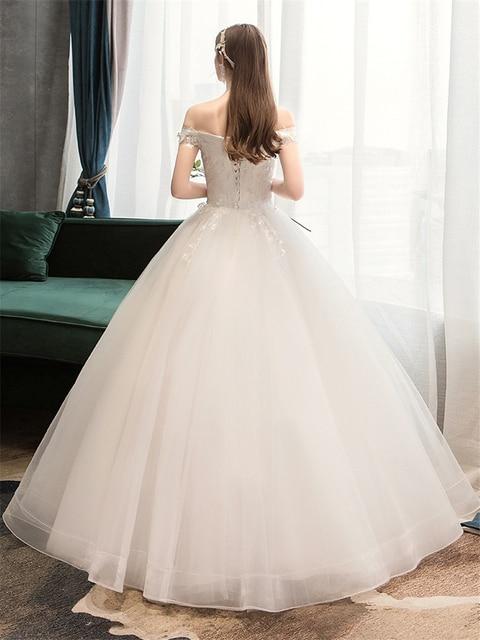 Plus Size Lace Flowers Peals Wedding Dresses Simple Elegant Wedding Gowns Bride Dress Boda robe de mariee Boat neck Off Shoulder 2