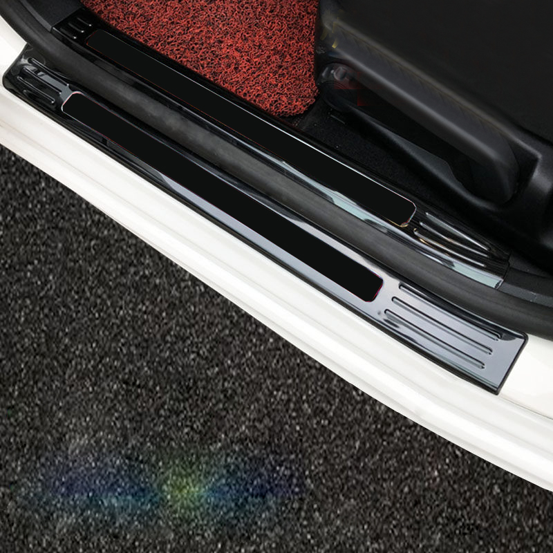 Car Accessories Black Stainless Steel Door Sill Scuff Plate Cover 8PCS For Ford Focus 2019