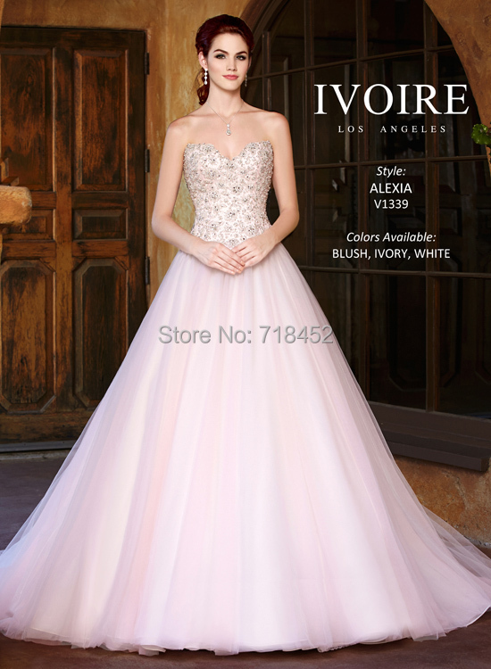 e1d4157243e1 2015 Stunning Beading Wedding Dress Blush Organza Sweetheart Bridal Gowns  Zipper with Buttons Back2015 Vestido De Noiva BN1901
