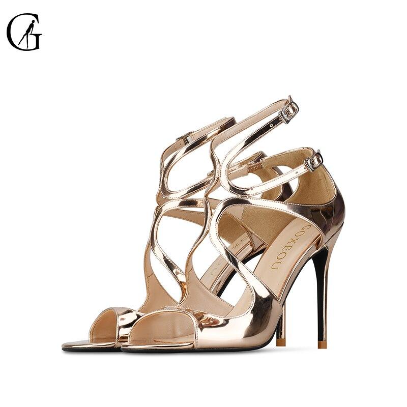 GOXEOU/George 2019 ใหม่ bright pointed fine hollow รองเท้าส้นสูง professional รองเท้าผู้หญิงรองเท้าแตะ size32 46-ใน รองเท้าส้นสูง จาก รองเท้า บน   3