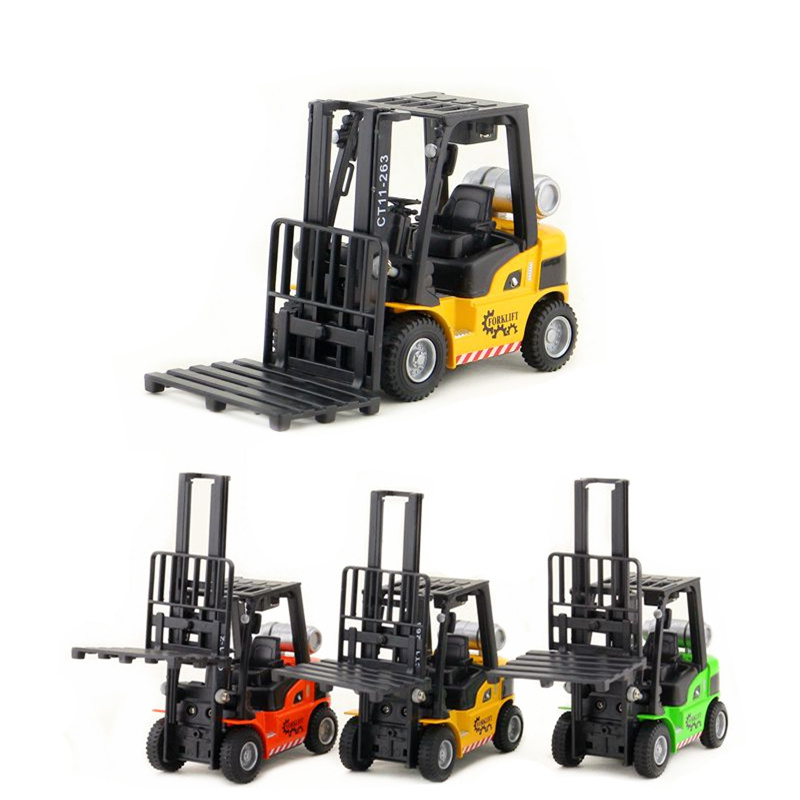 Diecast Metal Model/Engineering Truck Toy/Forklift Car/Pull Back Sound & Light Collection/Educational/Gift For Children
