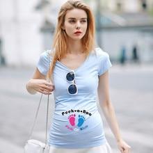 European American Plus Size Women Summer Apparel Funny Baby Footprints Printed Pregnant T Shirt Creative font