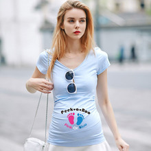 European American Plus Size Women Summer Apparel Funny Baby Footprints Printed Pregnant T Shirt Creative Maternity Clothes