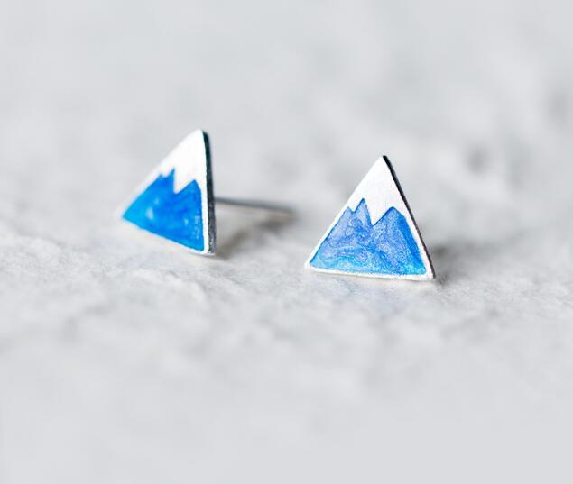 4824bca26 100% REAL. 925 Sterling SIlver Fine Jewelry Blue Enamel iceberg /Ice  Mountain Triangle Geometric Stud Earrings GTLE1970
