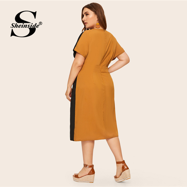 Sheinside Plus Size Elegant V Neck Colorblock Straight Dress Women 2019 Summer High Waist Dresses Ladies Button Detail Dress 1