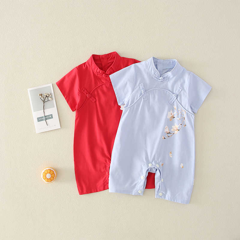 2019 Summer Baby Onesies New Plum Chinese Hanfu Clothes Short Sleeved Romper Outdoor Clothes Cute Toddler Girls Boys Red Romper