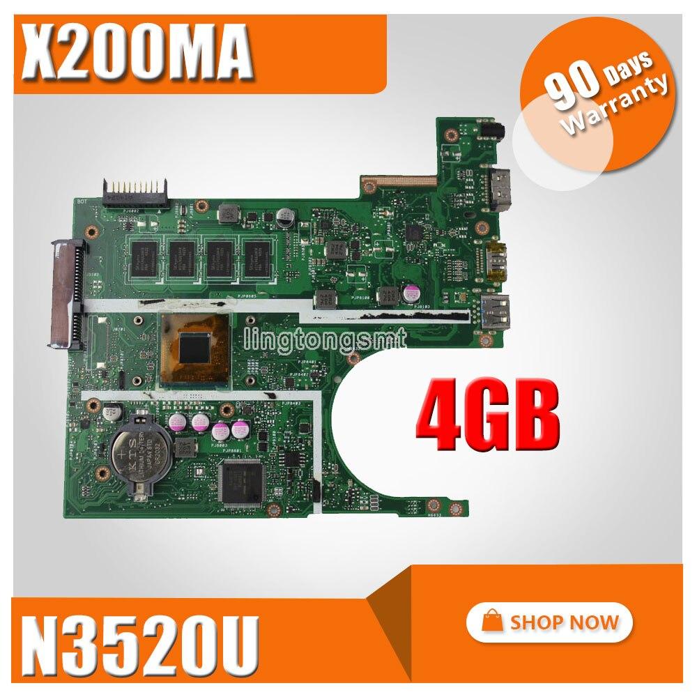 Для ASUS K200MA F200MA X200MA материнской X200MA REV2.1 плата 4 г памяти на борту N3520CPU 100% тестирование