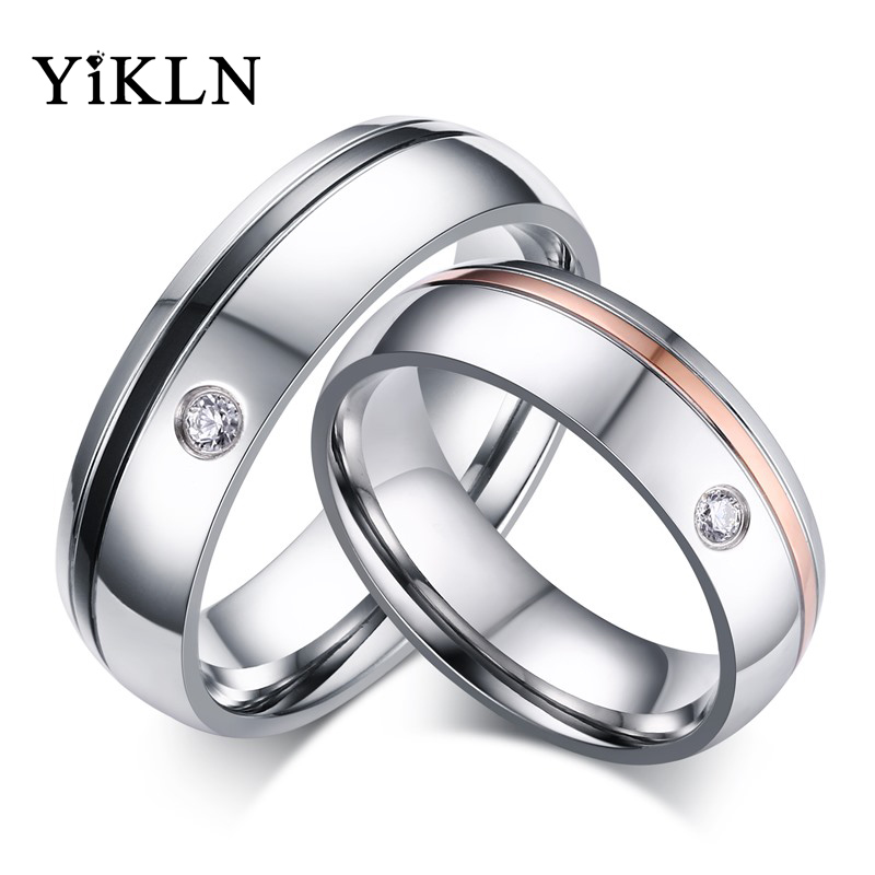 YiKLN Trendy Stainless Steel Couple Rings Cubic Zironia Rose Gold/Black Gun Plated Wedding Rings Jewelry For Women Men JCR059