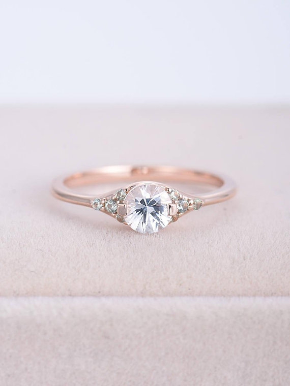 myray natural white sapphire engagement ring round cut. Black Bedroom Furniture Sets. Home Design Ideas