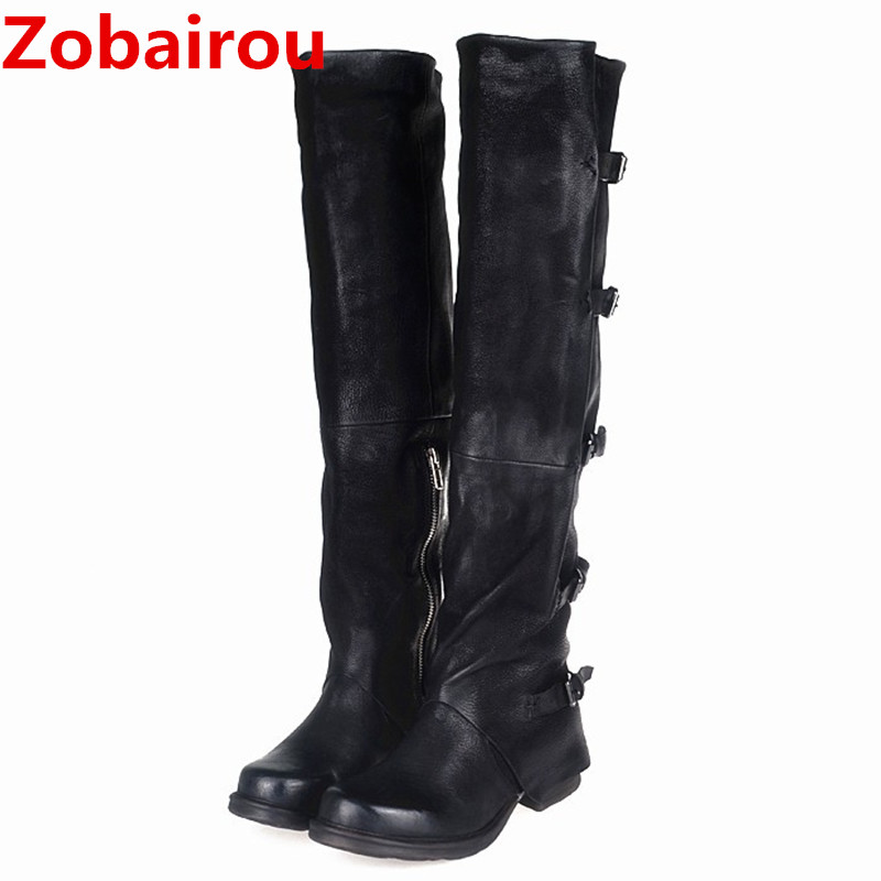Zobairou celebrity black thigh high cowboy boots Genuine Leather overknee boots buckle strap botas mujer shoes woman StockingsZobairou celebrity black thigh high cowboy boots Genuine Leather overknee boots buckle strap botas mujer shoes woman Stockings