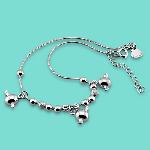 lady 925 sterling silver chains,Lovely angel pendant design Round bead anklets,Summer woman pop foot jewelry of silver,best gift