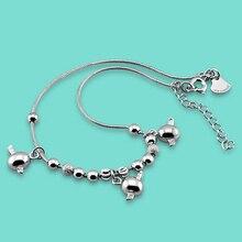 Señora 925 cadenas de plata esterlina, ángel Encantador diseño colgante tobilleras grano Redondo, Verano mujer pop joyería de pie de plata, el mejor regalo