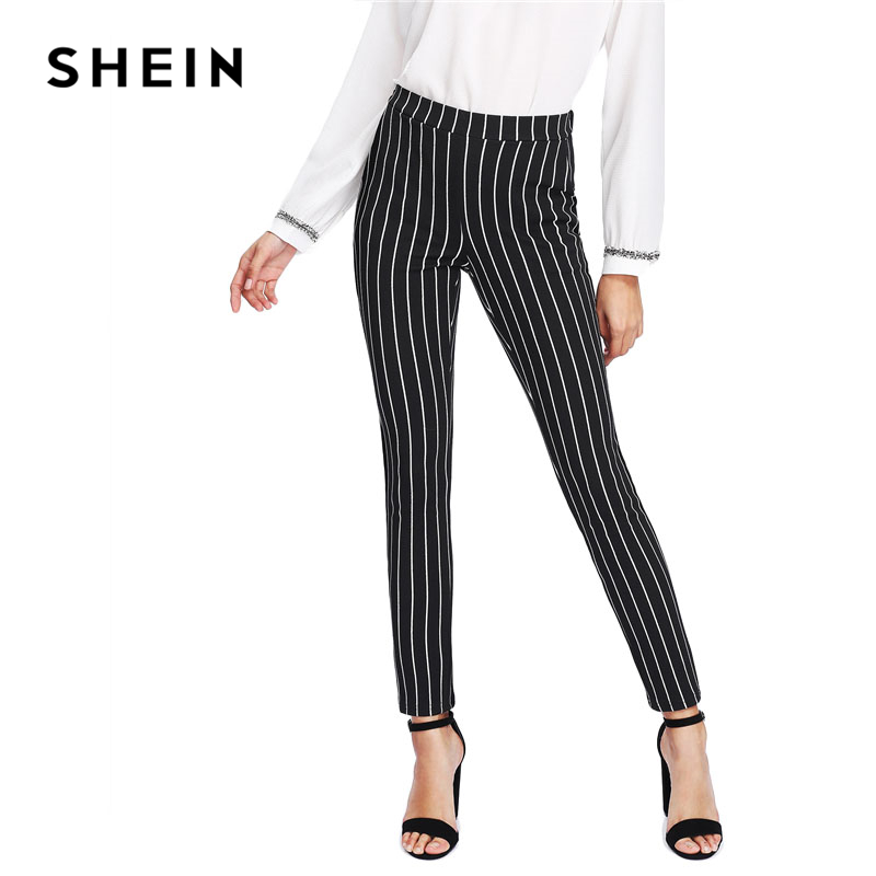 Image 5 - SHEIN Vertical Striped Skinny Pants Women Elastic Waist Pocket OL Style Work Trousers 2018 Spring Mid Waist Long Pencil Pants-in Pants & Capris from Women's Clothing