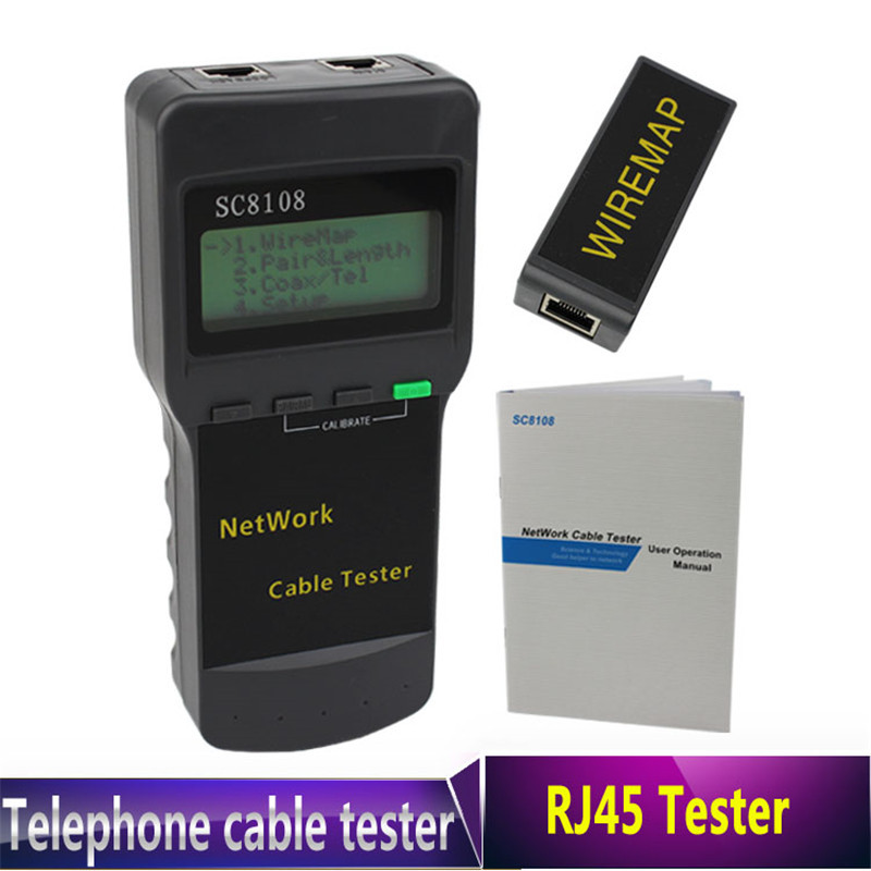 10PCS/LOT  Hot Selling Portable LCD Wireless Network Tester Meter and LAN Phone Cable Tester +  Meter With LCD Display RJ4510PCS/LOT  Hot Selling Portable LCD Wireless Network Tester Meter and LAN Phone Cable Tester +  Meter With LCD Display RJ45