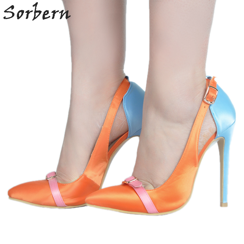 Sorbern Women Pumps Satin Ladies Party Shoes Women Pumps High Heel Buckle Strap Plus Size Womens Shoes Large Sizes Pointed Toe black square heel pointed toe hollow shoes women buckle strap fashion ankle strap high heels pumps white summer plus size ladies