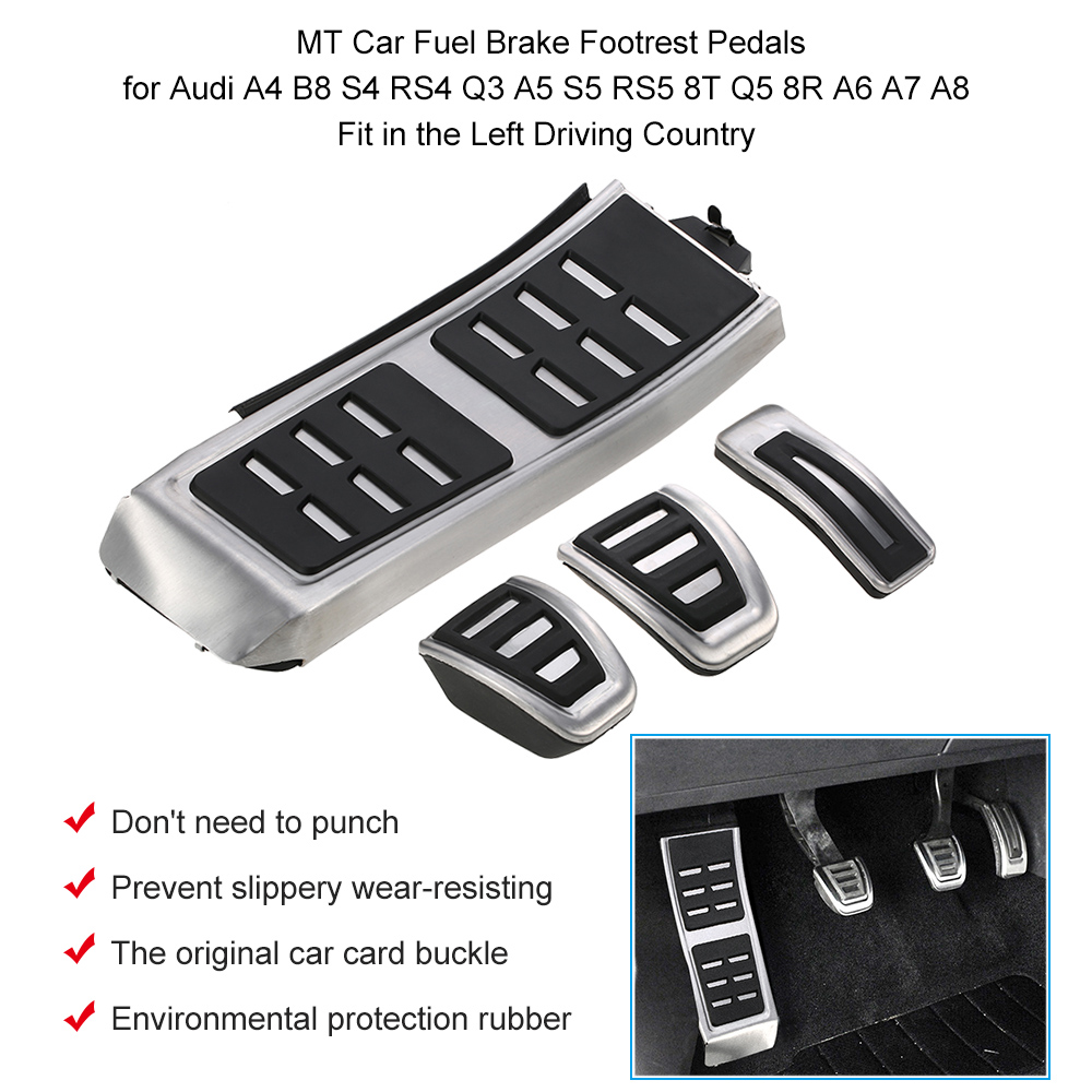 MT Car Fuel Brake Footrest Pedals  for Audi A4 B8 S4 RS4 Q3 A5 S5 RS5 8T Q5 8R A6 A7 A8 Fit in the  Left Driving Country|Pedals| |  - title=