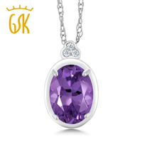 10K White Gold Diamond Accent Pendant With Chain Oval Purple Amethyst 0 77 Cttw