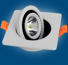 Free Shipping COB 12W Dimmable Led Ceiling Down light Square Recessed Lamp 360 degree rotation AC85-265V 12pcs/lot