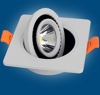 Free Shipping COB 12W Dimmable Led Ceiling Down light Square Recessed Led Lamp 360 degree rotation AC85-265V 12pcs/lot triac dimmable 0 10v dimmable dali dimmable 130lm w 50w gimbal downlight 360 degree recessed ceiling led lights 12pcs lot