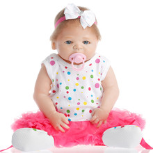 SanyDoll 22 inch 57 cm Silicone reborn dolls lifelike doll reborn Cute bow flower doll