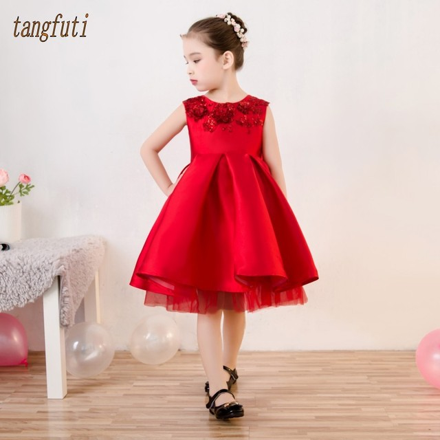 6652395008b Cute Red Satin Flower Girl Dresses A Line Pleats Sleeveless First Communion  Dress For Girls Real