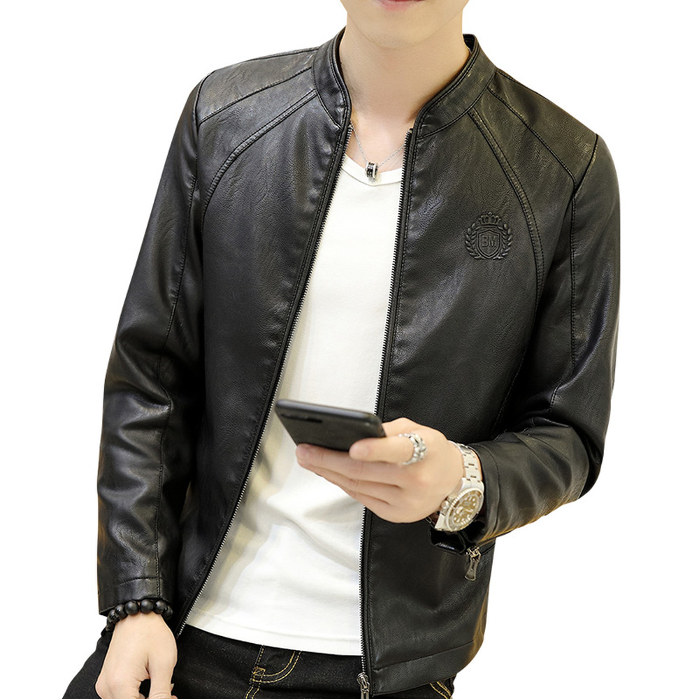 Leather Jackets Men Stand Collar Coats Male Spring Antumn Motorcycle PU Leather Jacket Casual Slim Clothing Solid Outwear