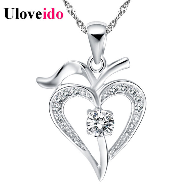 Aliexpress buy 15 off necklace women heart whitepurple 15 off necklace women heart whitepurple 2017 vintage silver necklaces pendants neckless mozeypictures Image collections