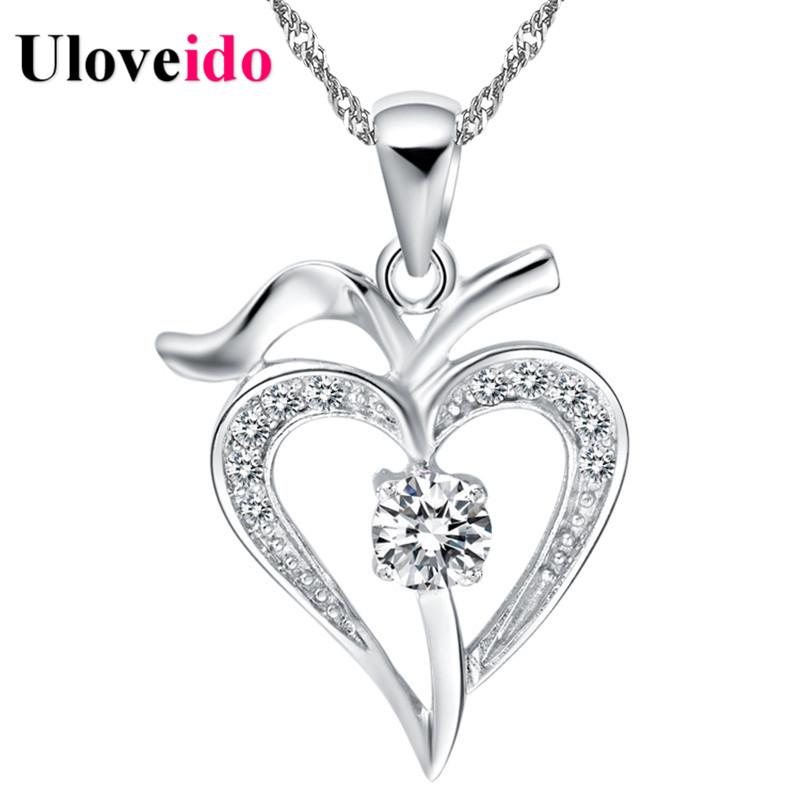 15% Off Necklace Women Heart White/Purple 2017 Vintage Silver Necklaces & Pendants Neckless Gift Colar Femininos Uloveido N639