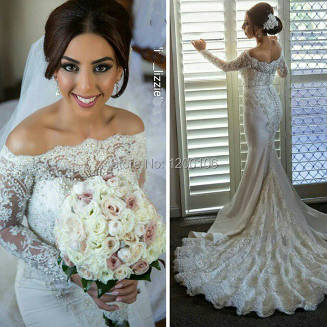 Boat Neck Off the Shoulder Sexy Wedding Gowns Appliqued Beads Lace Bride Dress Chapel Train Mermaid Wedding Dresses