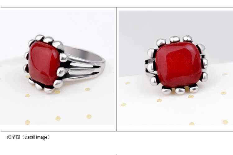 สีแดงธรรมชาติหยกหิน Men สแควร์ชุดแหวน Punk รูปไข่เรขาคณิตอัญมณีโบราณเงินขนาด 7/8/ 9 สำหรับสุภาพสตรีเครื่องประดับ
