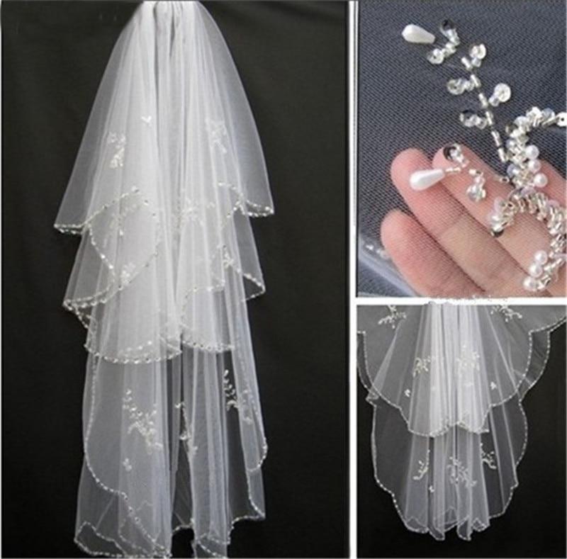 White Bridal Veil 2019 New 2T Veils For Bride Edge Crystal Beaded Wedding Veil With Comb Ivory Wedding Veil