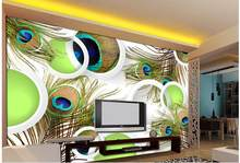 3D stereoscopic circle backdrop mural peacock feathers custom 3d photo wallpaper Home Decoration(China)