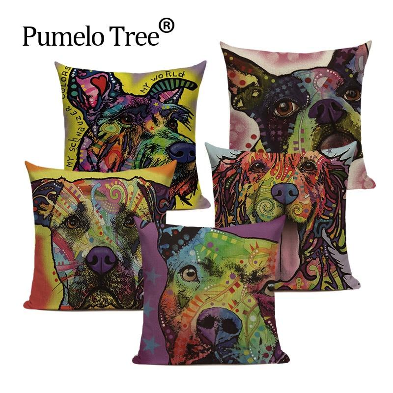 Cushion Cover Colourful Painted Bulldog Dog Bull Terrier One Side Printed CushioN Home Sofa Home Decorative Throw Pillow Cover
