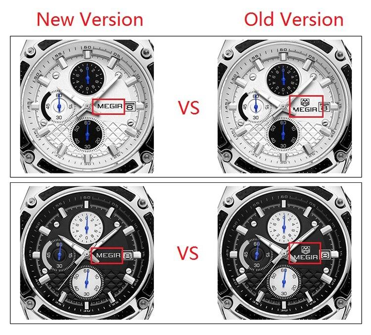 Image 2 - MEGIR Official Quartz Men Watches Fashion Genuine Leather Chronograph Watch Clock for Gentle Men Male Students Reloj Hombre 2015-in Quartz Watches from Watches