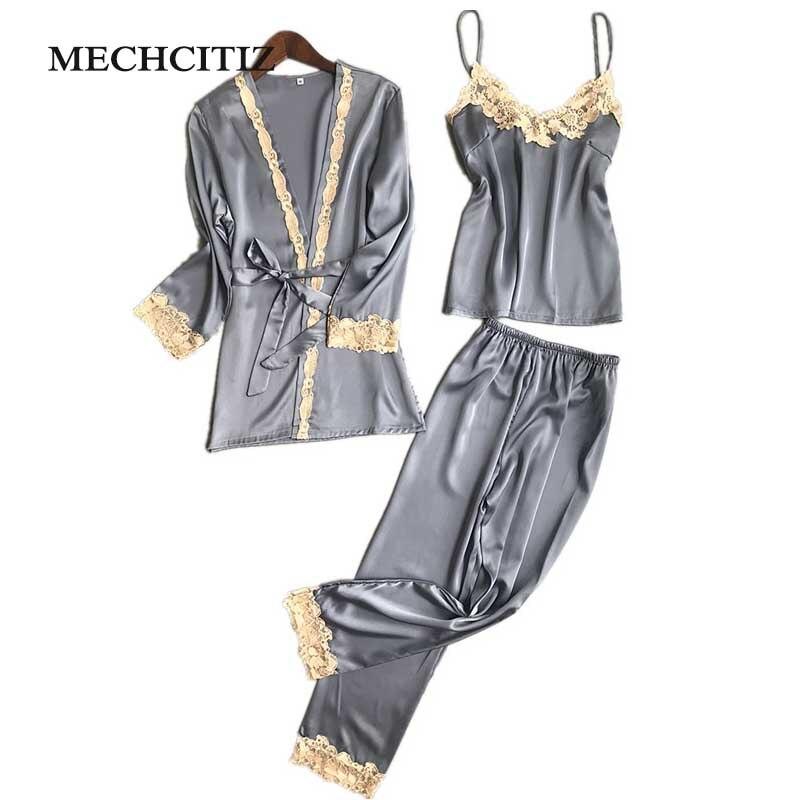 Mechcitiz Three Piece Female Sexy Silk Pajamas Set Robe Sling Pajamas Long Sleeved Pants Women Nightgown 6 Color Sleepwear