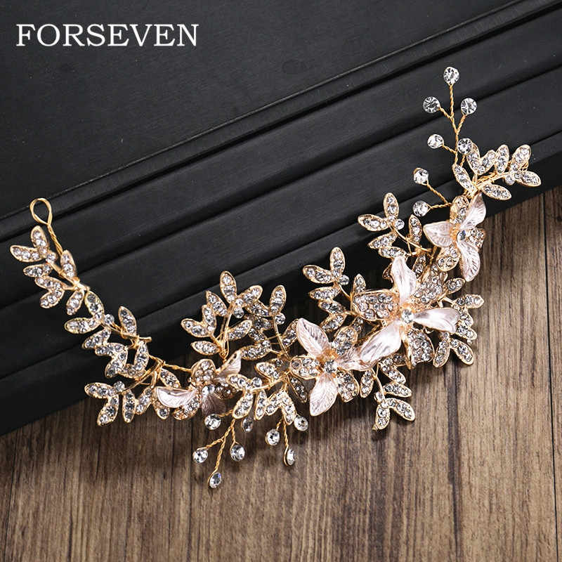 Flower Leaf Rhinestone Crystal Headband Hair Accessories Golden Bride Headbands Wedding Hair Ornaments Women Hairbands