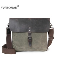 YUPINXUAN 5 Color Options First Layer Cow Leather Canvas Shoulder Bags For Men Vintage Messenger Bag